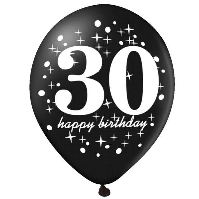 Balony 30 Urodziny czarno-złote Partypal 12 6 szt
