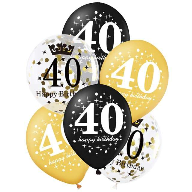"""Balony """"40 Urodziny"""", czarno-złote, Partypal, 12"""", 6 szt"""