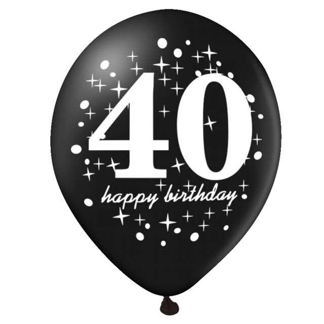 Balony 40 Urodziny czarno-złote Partypal 12 6 szt