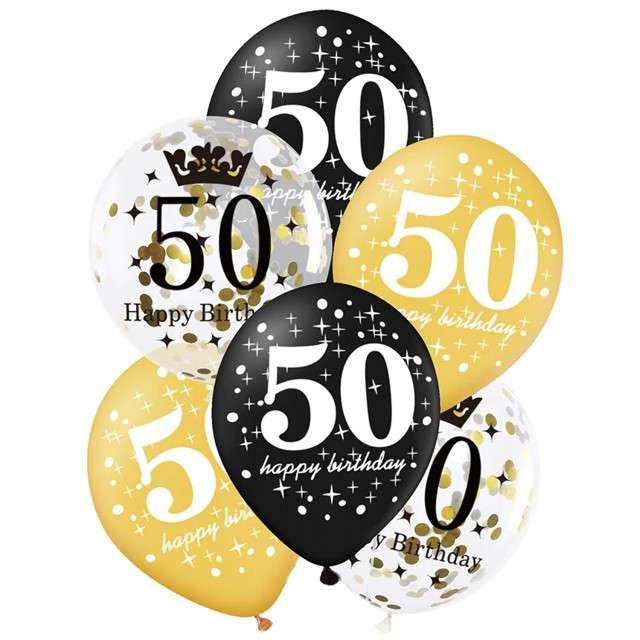 """Balony """"50 Urodziny"""", czarno-złote, Partypal, 12"""", 6 szt"""