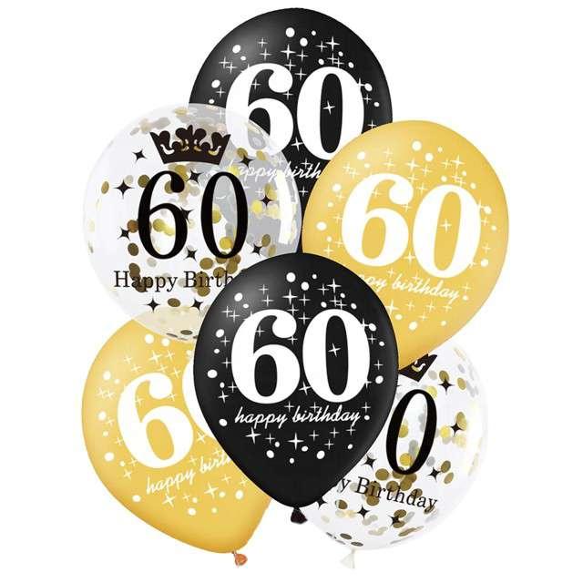 """Balony """"60 Urodziny"""", czarno-złote, Partypal, 12"""", 6 szt"""