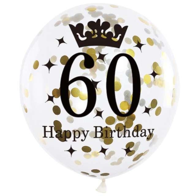 Balony 60 Urodziny czarno-złote Partypal 12 6 szt
