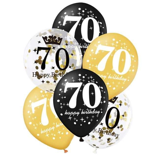 """Balony """"70 Urodziny"""", czarno-złote, Partypal, 12"""", 6 szt"""