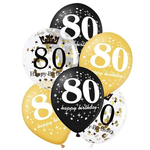 """Balony """"80 Urodziny"""", czarno-złote, Partypal, 12"""", 6 szt"""