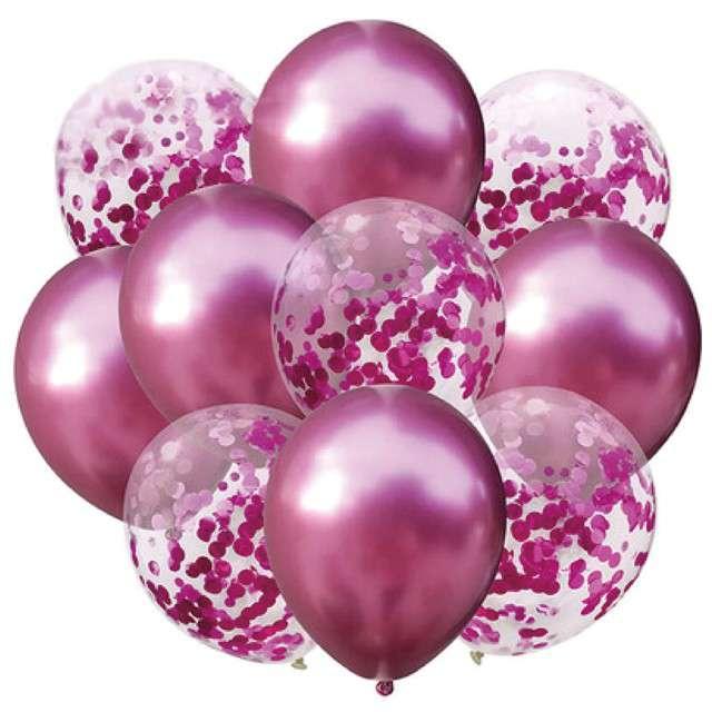 """Balony """"Chrom mix z konfetti"""", różowe, Partypal, zestaw"""