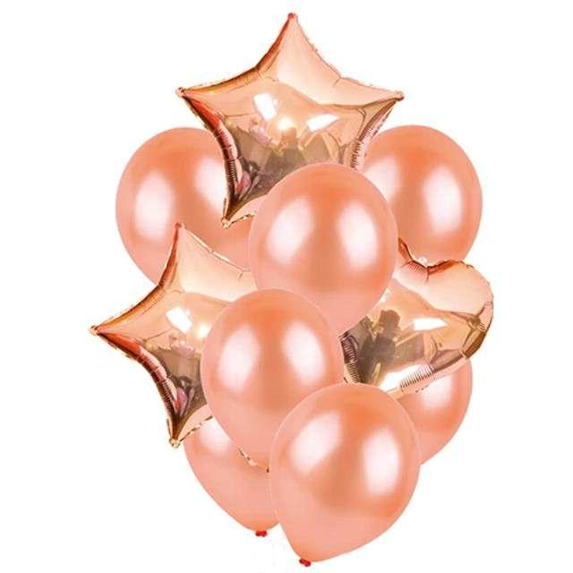 """Balony """"Dekoracyjny mix"""", różowe złoto, Partypal, zestaw"""