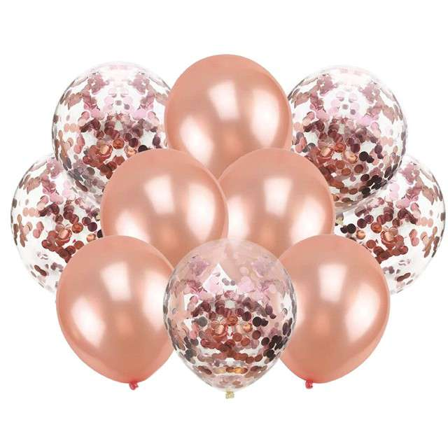 """Balony """"Chrom mix z konfetti"""", różowe złoto, Partypal, zestaw"""