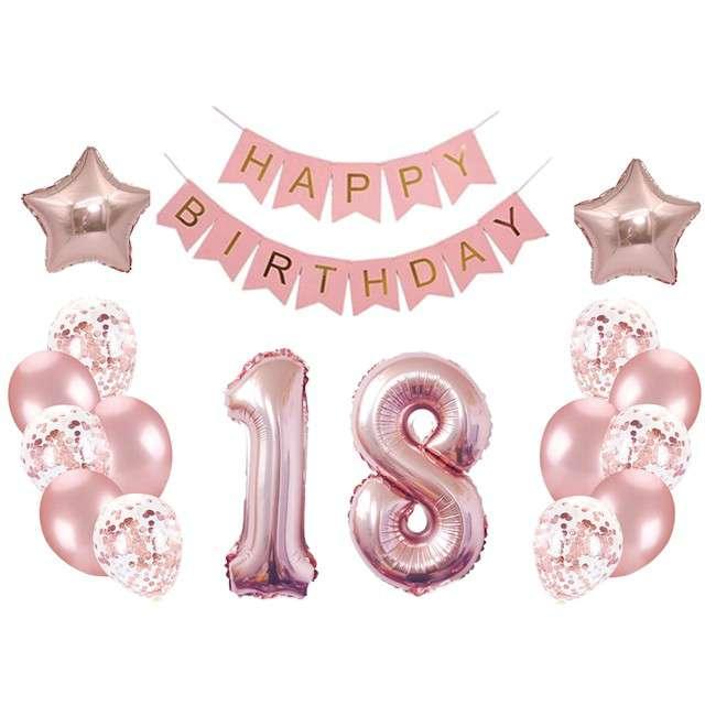 """Balony """"Dekoracja na 18 Urodziny"""", różowe złoto, Partypal, zestaw"""