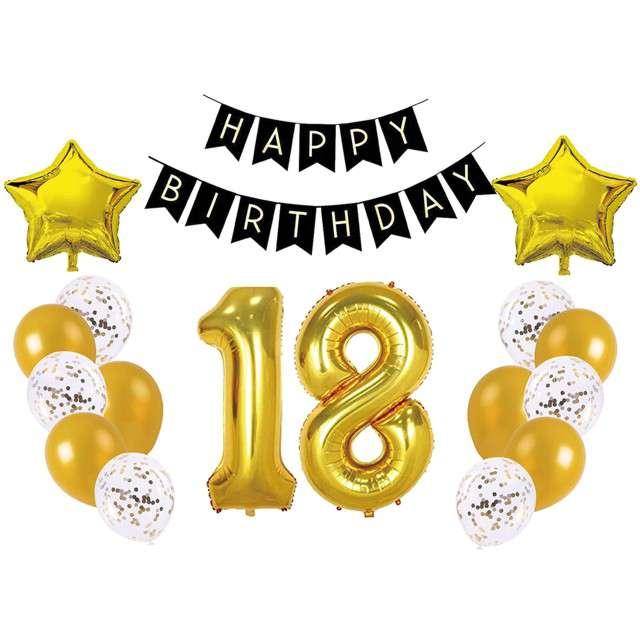 """Balony """"Dekoracja na 18 Urodziny"""", złota, Partypal, zestaw"""