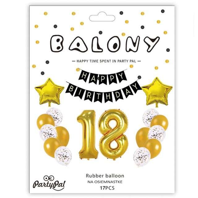 Balony Dekoracja na 18 Urodziny złota Partypal zestaw