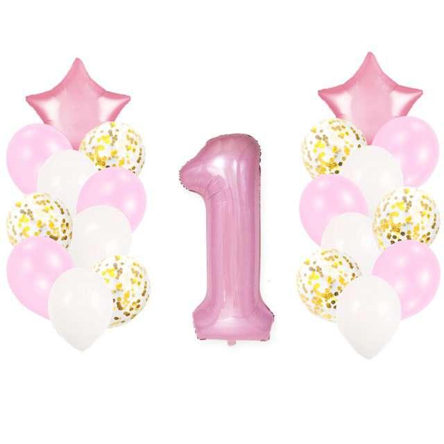 """Balony """"Roczek - 1 urodziny dziewczynki"""", różowy jasny, Partypal, zestaw"""