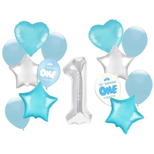 """Balony """"Roczek - 1 urodziny chłopca"""", niebieski jasny, Partypal, zestaw"""