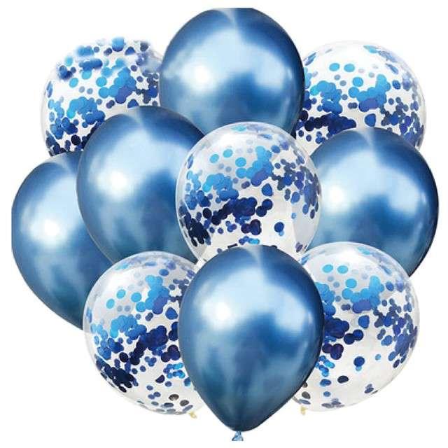 """Balony """"Chrom mix z konfetti"""", niebieskie, Partypal, zestaw"""