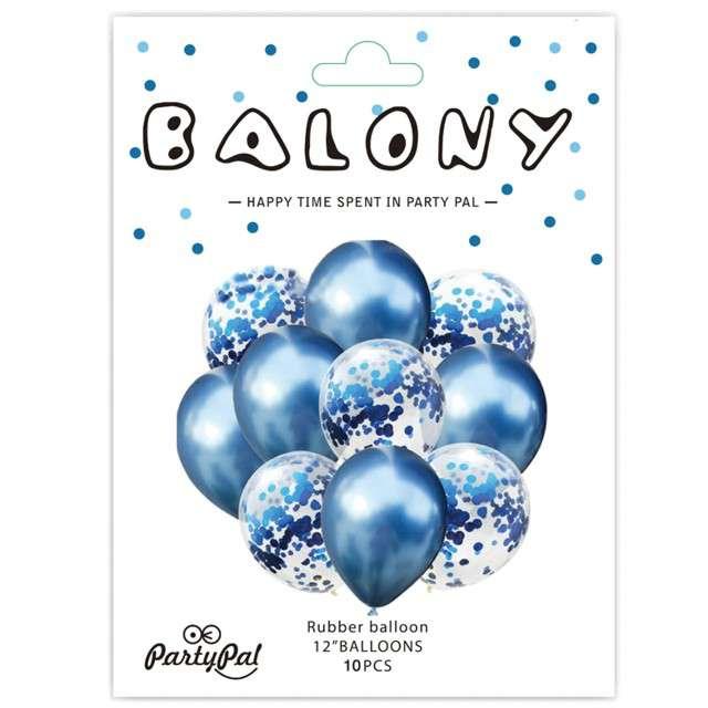 Balony Chrom mix z konfetti niebieskie Partypal zestaw