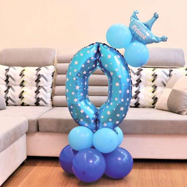 Balony Cyfra 0 niebieski PartyPal zestaw