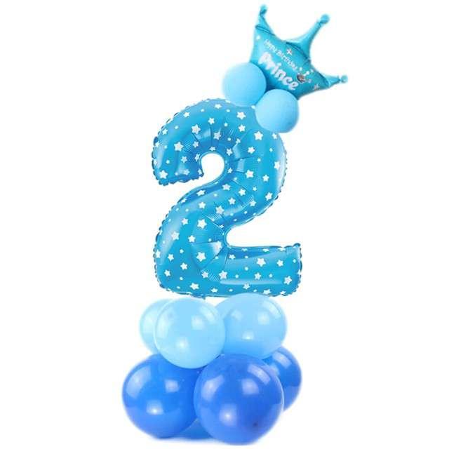 """Balony """"Cyfra 2"""", niebieski, PartyPal, zestaw"""