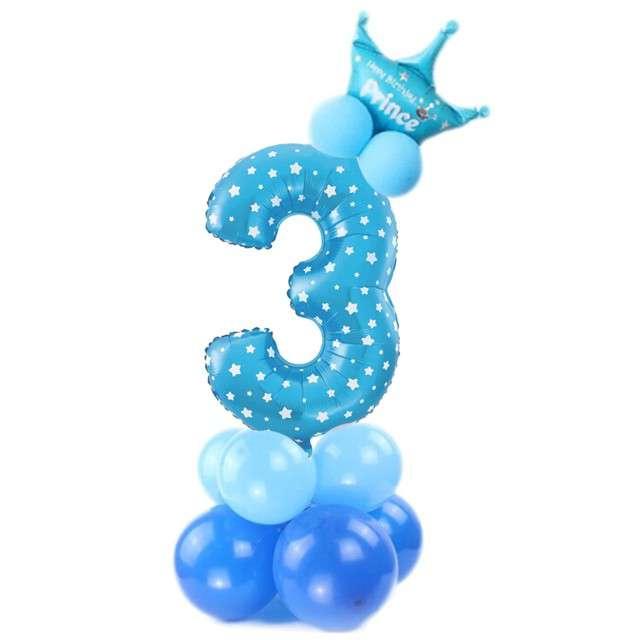 """Balony """"Cyfra 3"""", niebieski, PartyPal, zestaw"""