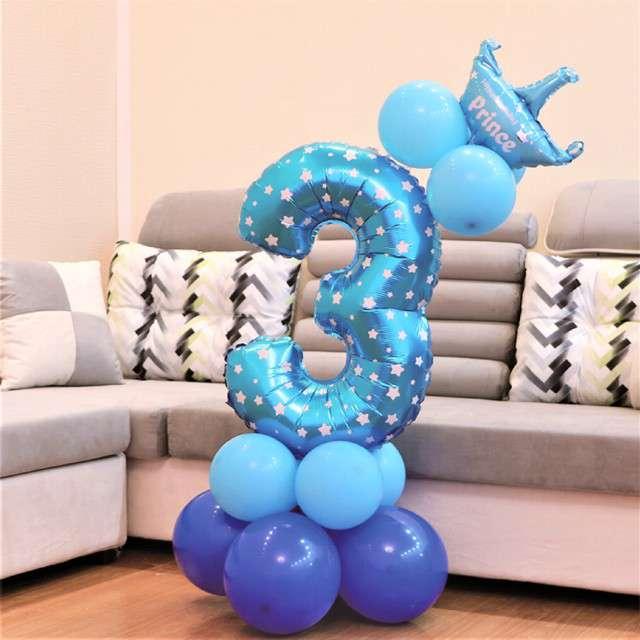 Balony Cyfra 3 niebieski PartyPal zestaw
