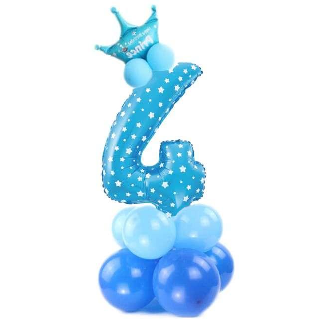 """Balony """"Cyfra 4"""", niebieski, PartyPal, zestaw"""