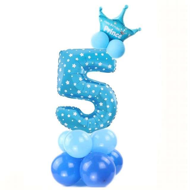 """Balony """"Cyfra 5"""", niebieski, PartyPal, zestaw"""
