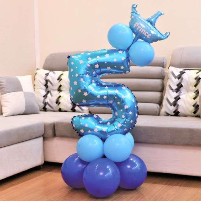 Balony Cyfra 5 niebieski PartyPal zestaw