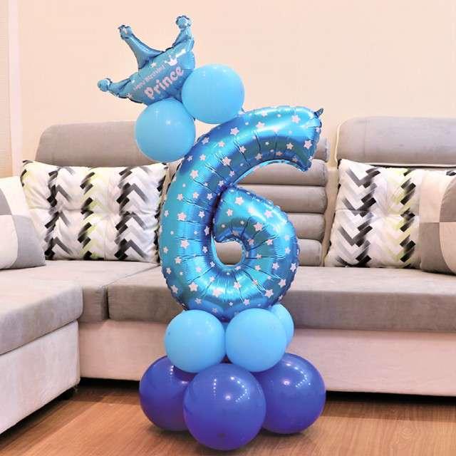 Balony Cyfra 6 niebieski PartyPal zestaw