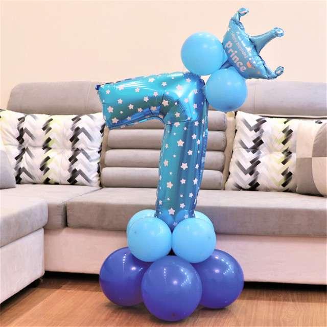 Balony Cyfra 7 niebieski PartyPal zestaw