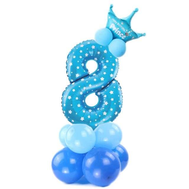 """Balony """"Cyfra 8"""", niebieski, PartyPal, zestaw"""