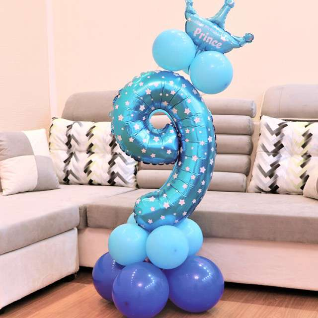 Balony Cyfra 9 niebieski PartyPal zestaw