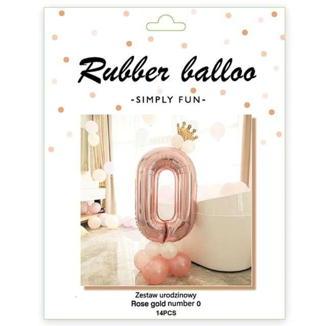 Balony Cyfra 0 różowe złoto PartyPal zestaw