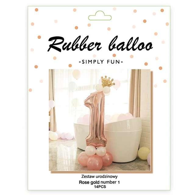 Balony Cyfra 1 różowe złoto PartyPal zestaw