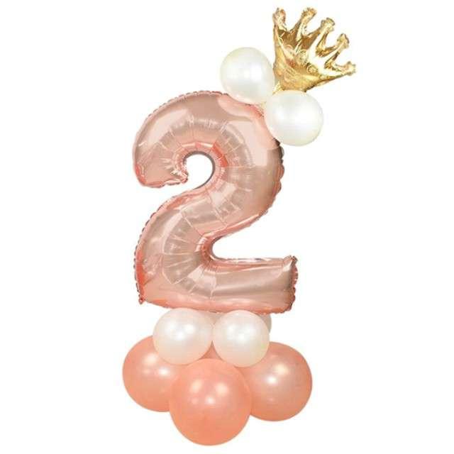 """Balony """"Cyfra 2"""", różowe złoto, PartyPal, zestaw"""