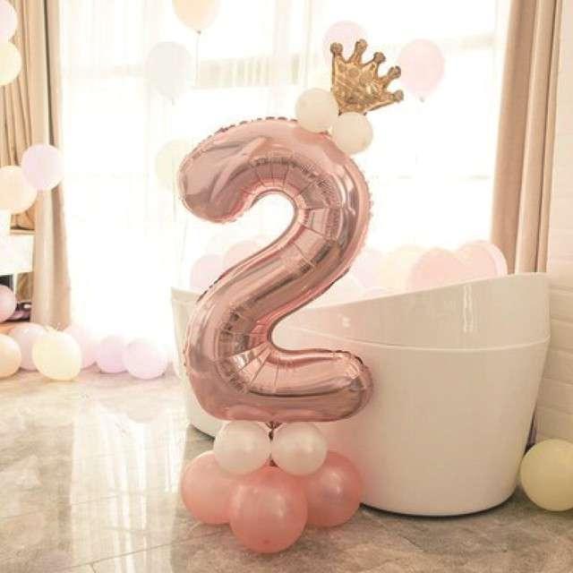 Balony Cyfra 2 różowe złoto PartyPal zestaw