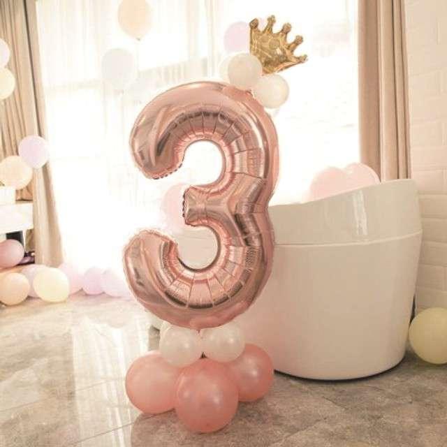 Balony Cyfra 3 różowe złoto PartyPal zestaw
