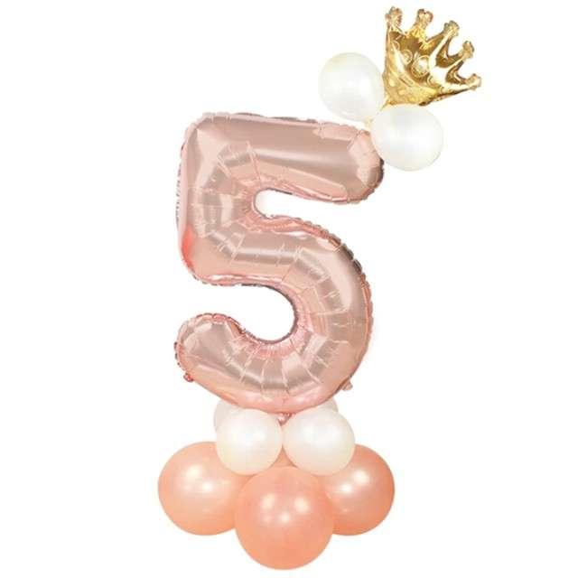 Balony Cyfra 5 różowe złoto PartyPal zestaw