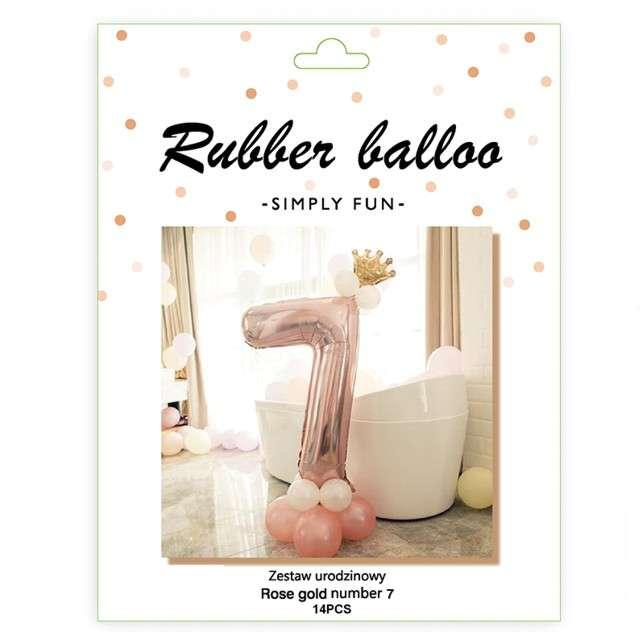 Balony Cyfra 7 różowe złoto PartyPal zestaw