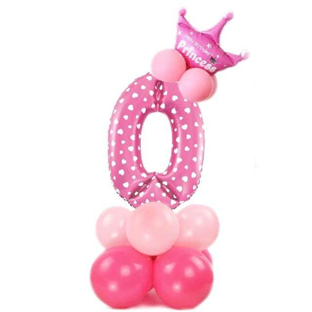 """Balony """"Cyfra 0"""", różowy, PartyPal, zestaw"""