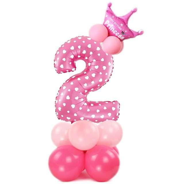 """Balony """"Cyfra 2"""", różowy, PartyPal, zestaw"""