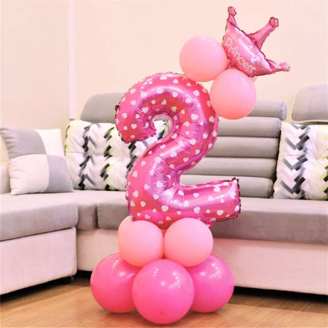Balony Cyfra 2 różowy PartyPal zestaw
