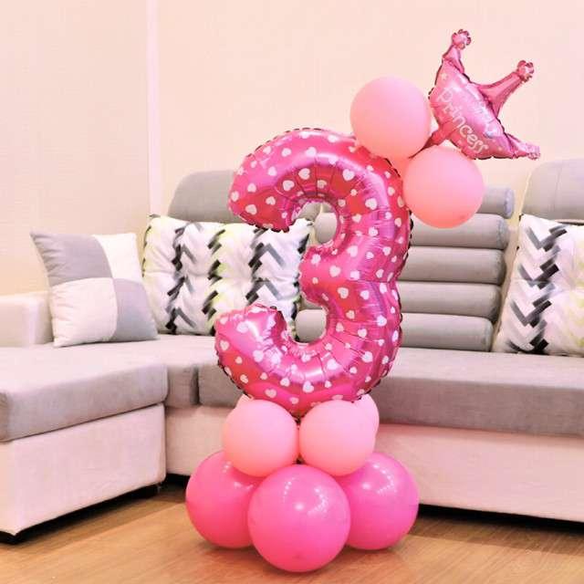 Balony Cyfra 3 różowy PartyPal zestaw
