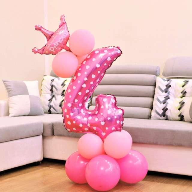 Balony Cyfra 4 różowy PartyPal zestaw
