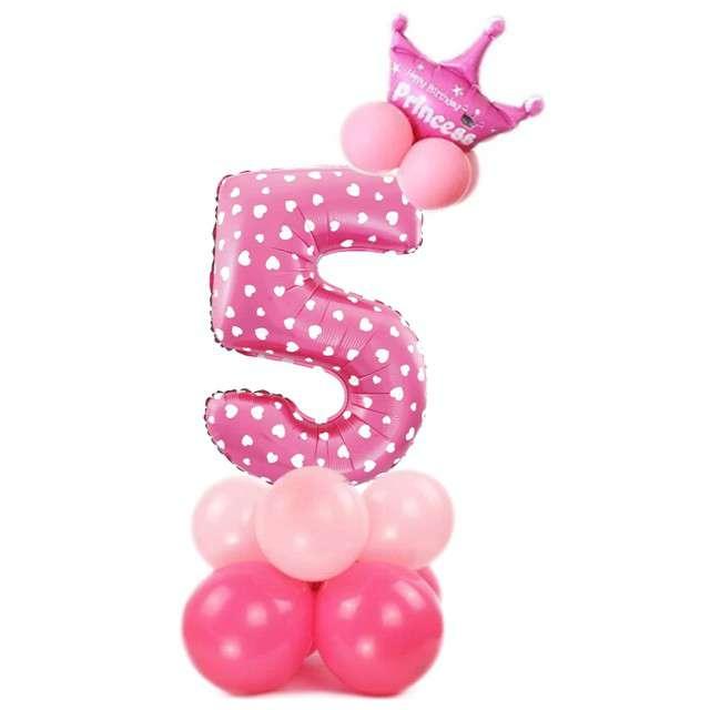 """Balony """"Cyfra 5"""", różowy, PartyPal, zestaw"""