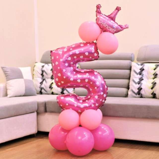Balony Cyfra 5 różowy PartyPal zestaw