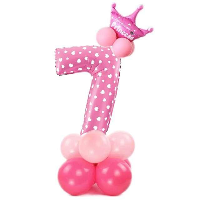 """Balony """"Cyfra 7"""", różowy, PartyPal, zestaw"""