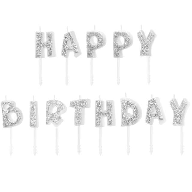"""Świeczki na tort """"Happy Birthday"""", srebrne, Partypal"""
