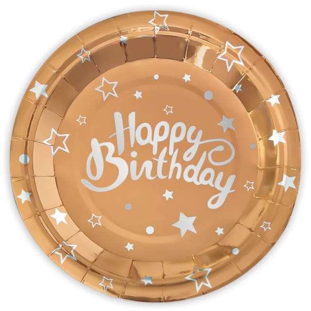 """Talerzyki papierowe """"Happy Birthday"""", różowe złoto, Partypal, 18 cm, 6 szt"""