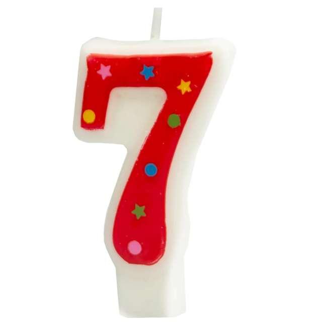 """Świeczka """"Cyfra 7 w gwiazdki"""", Partypal, czerwona, 8 cm"""