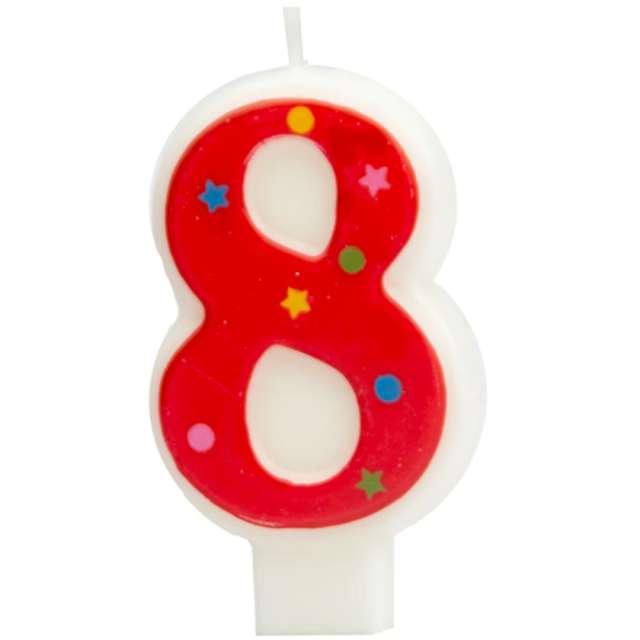 """Świeczka """"Cyfra 8 w gwiazdki"""", Partypal, czerwona, 8 cm"""