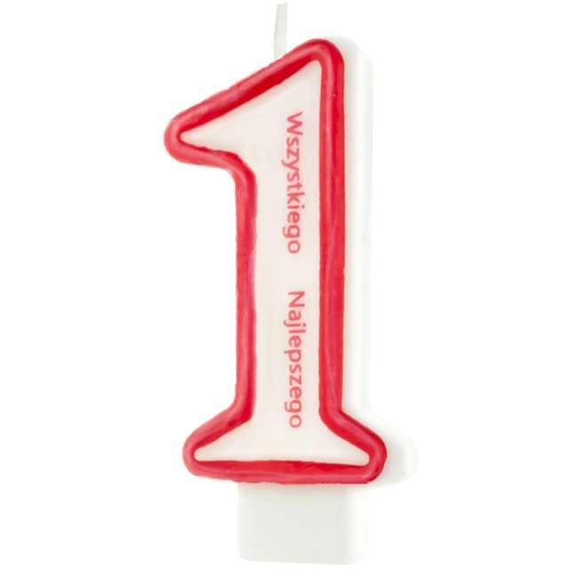 """Świeczka """"Cyfra 1 - Wszystkiego Najlepszego"""", Partypal, czerwona, 8 cm"""