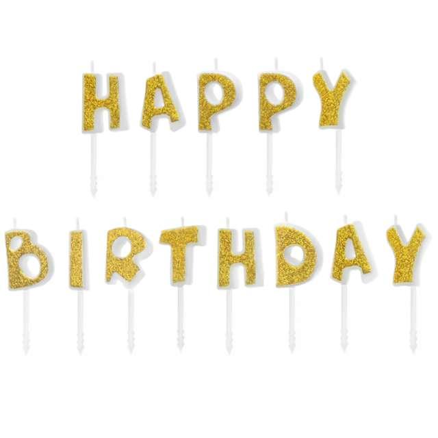Świeczki na tort Happy Birthday złote Partypal